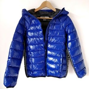 DKNY Glossy Blue Hooded Puffer Jacket - Small